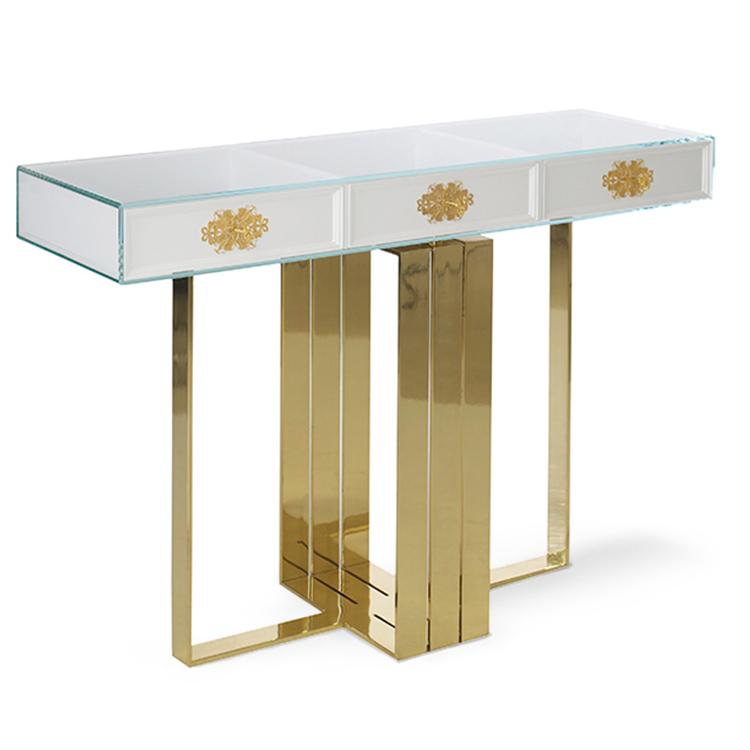 菲利格拉纳控制台奢华珠宝店桌子柜台 卓越优雅崇高透明钢化玻璃不锈钢电镀金色