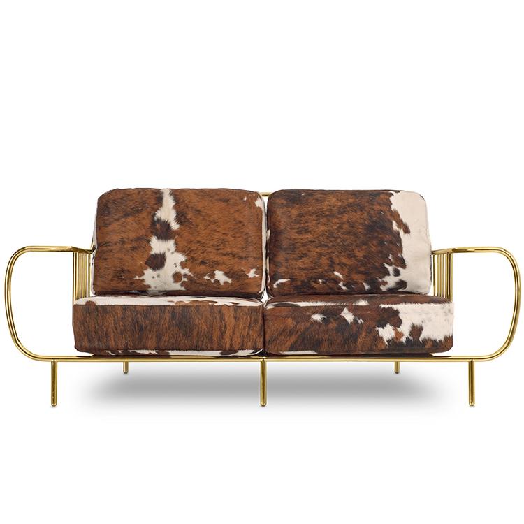 自由之门扶手椅高背复古鸟笼椅 不锈钢休闲椅 绒布绝配天鹅绒双人三人位沙发椅