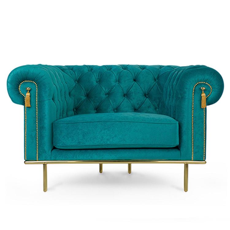 欧式贵族沙发英国扶手椅沙发切斯特菲尔德沙发深扣皮革沙发不锈钢电镀脚