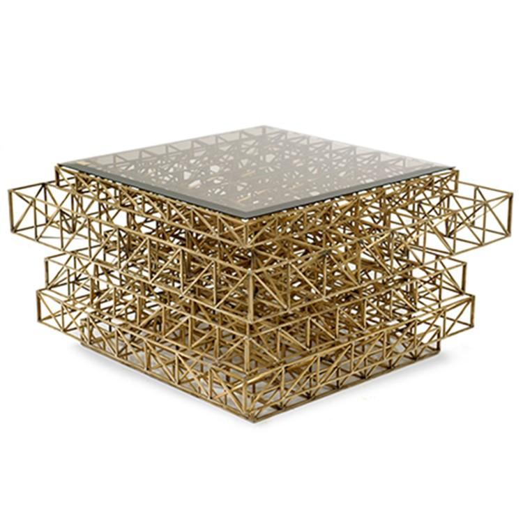 埃菲尔中心边桌网子格子架子 铁塔粗犷质朴美学怀旧 钢化染色玻璃茶几