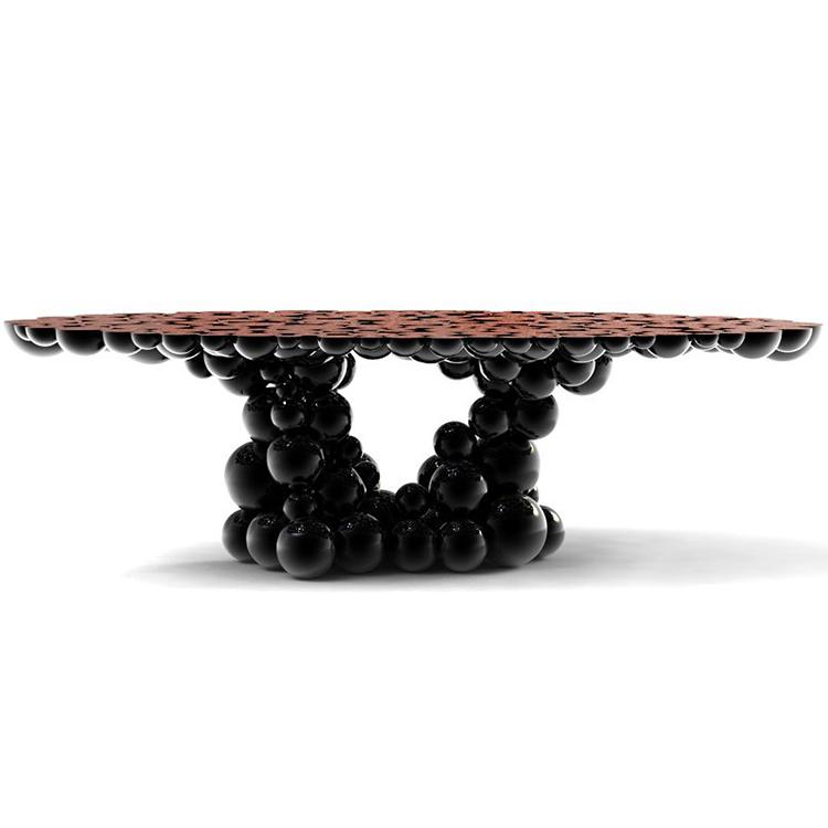 高端家具定制 超酷不锈钢玄关牛顿桌  意大利奢华玄关台