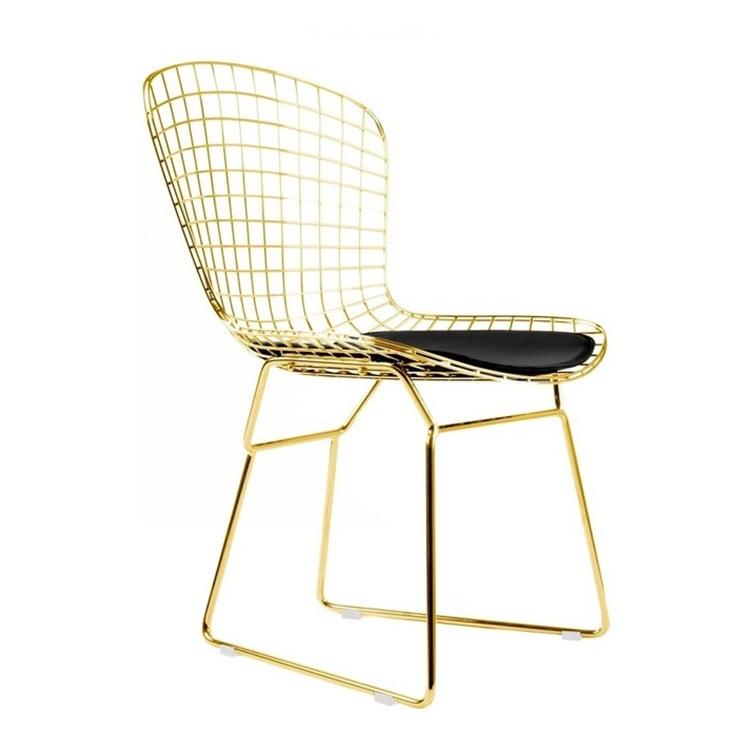 北欧餐椅单人金属网格铁丝高脚格子休闲酒吧椅