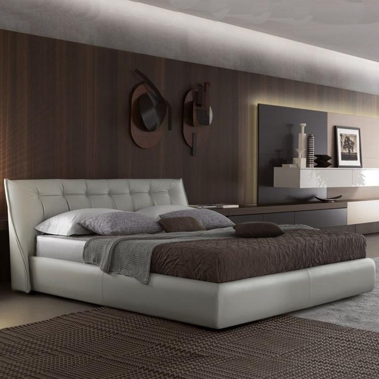 纽扣沙发床头 布艺床身 条纹床衣 相扑床