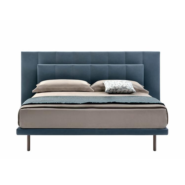 不锈钢脚 钢框架 牛皮布料 底座聚酯纤维装饰 可移动皮革 卧室酒店 大床房 双人床