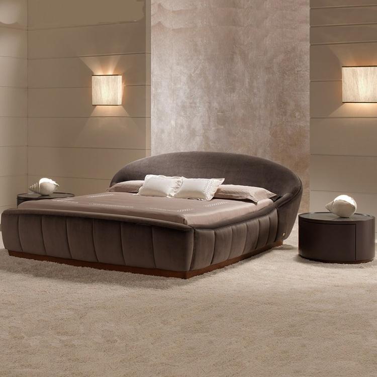 设计师家具定制 后现代简约双人床 布艺双人床 主卧床 圆形床