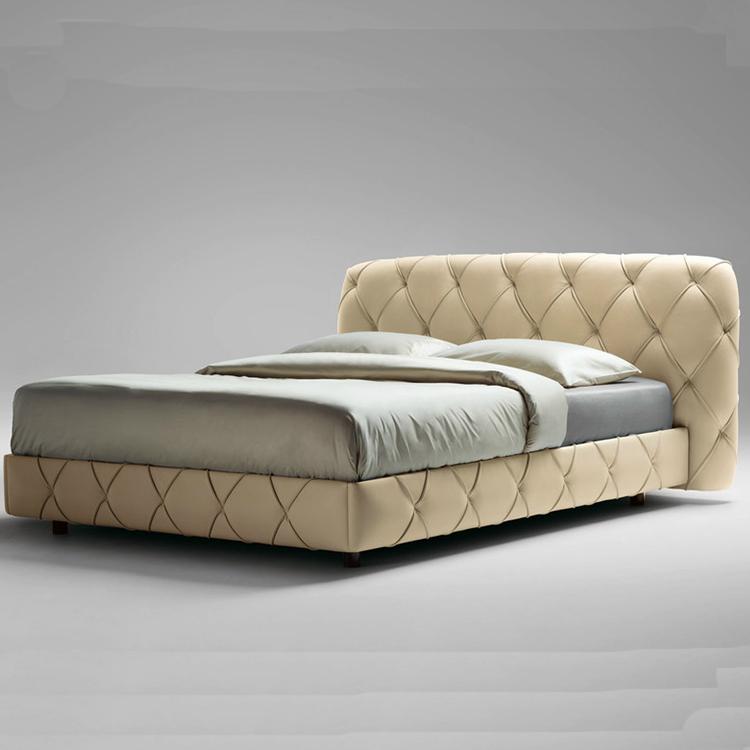 豪华创意真皮主卧双人床 网状形纽扣尽显奢华