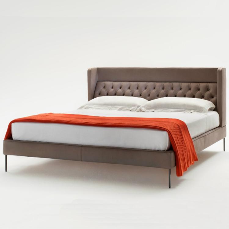 高端定制家具 高靠背 不锈钢床脚现代简约双人床