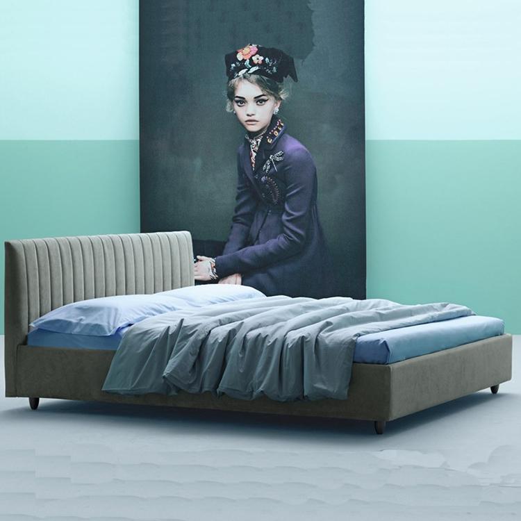 北欧ins双人床布艺轻奢 高靠背公主 个性简约现代主卧双人床
