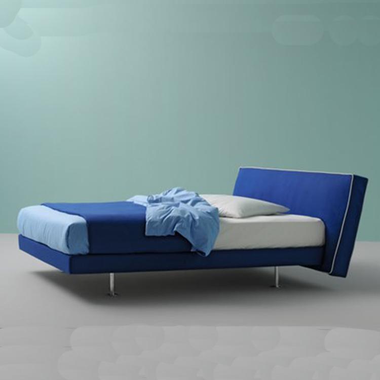 现代简约双人床 软垫床头板 织物储存床 不锈钢床脚