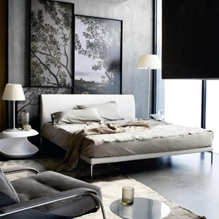 极简主义现代卧室布艺双人床 黑漆不锈钢床脚 弹簧内