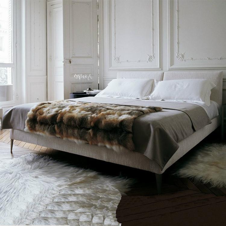 可拆洗现代简约布艺软床 双人床 软垫床头板 不锈钢抛光床脚