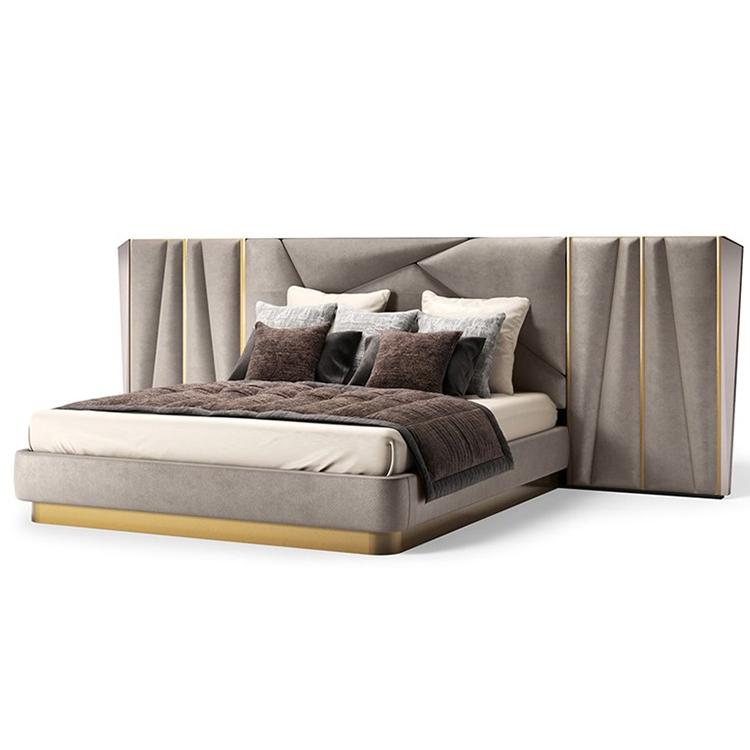马斯卡利实木轻奢皮床主卧小户型真皮现代简约双人婚床软包床头