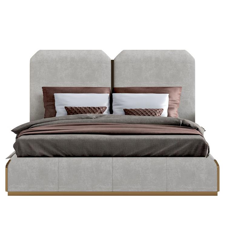 猎户座L布艺白色现代奢华床 后现代轻奢简约现代大气双人床