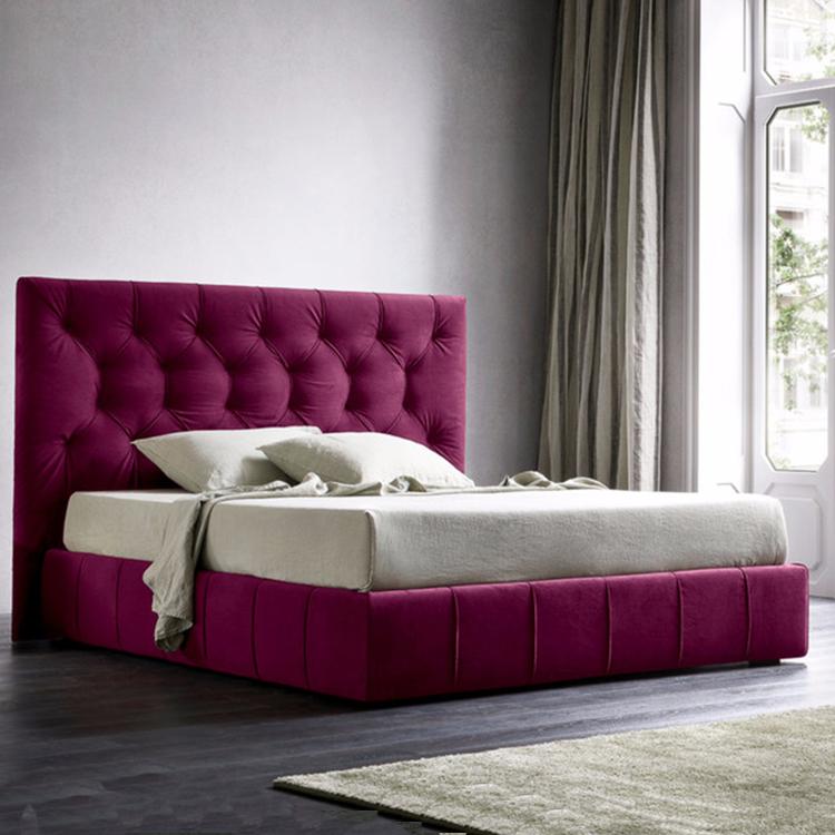汉密尔顿 后现代轻奢丝绒床简约双人床1.8米   美式主卧北欧简约软床