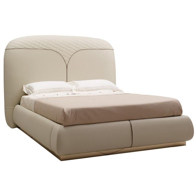 ESTER高端定制样板房美式轻奢后现代真皮布艺卧室双人床