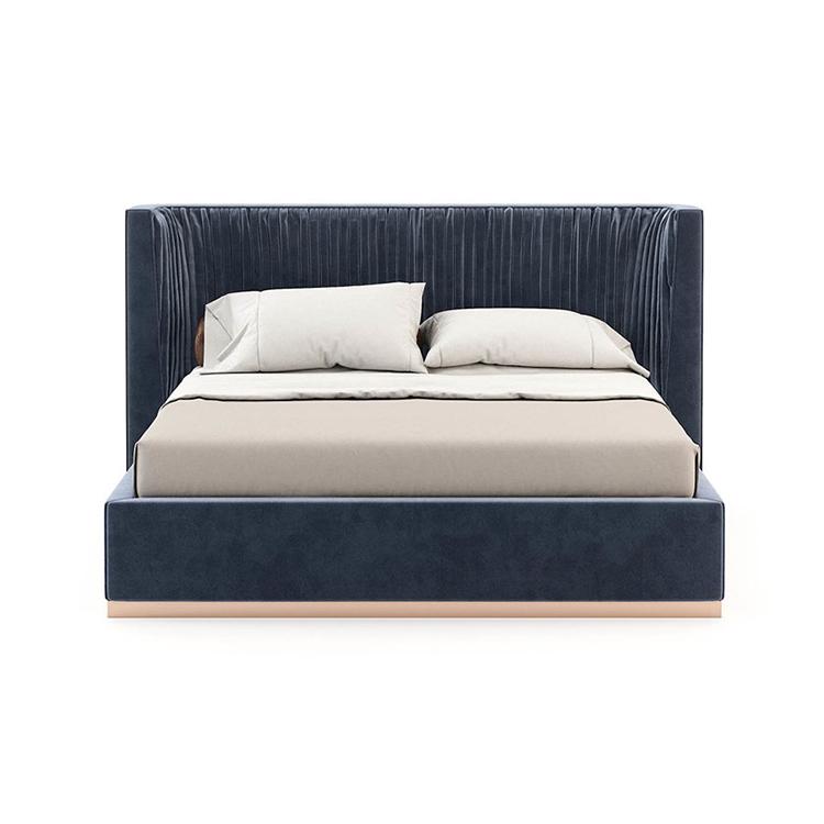 新美式轻奢布艺高背双人床1.8米欧式现代简约床头造型主卧婚床