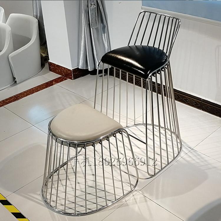 真皮不锈钢高脚吧椅 餐椅 酒吧 KTV 家用吧台椅子