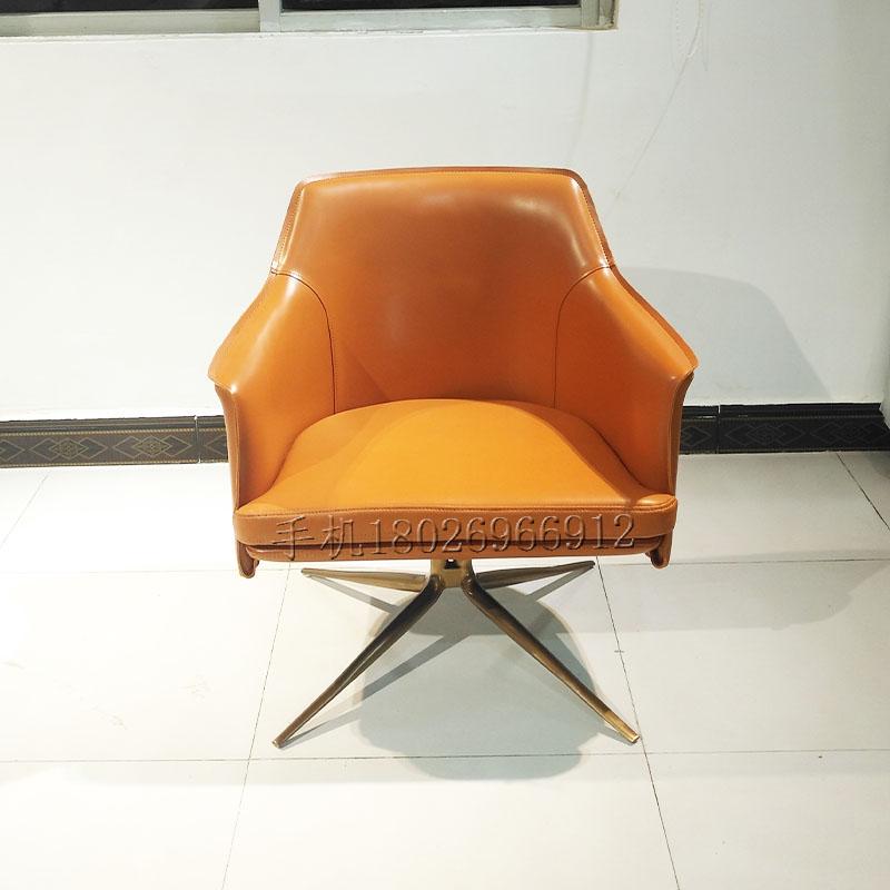 意大利极简设计马鞍皮休闲椅不锈钢电镀脚客厅 酒店 别墅会客洽谈