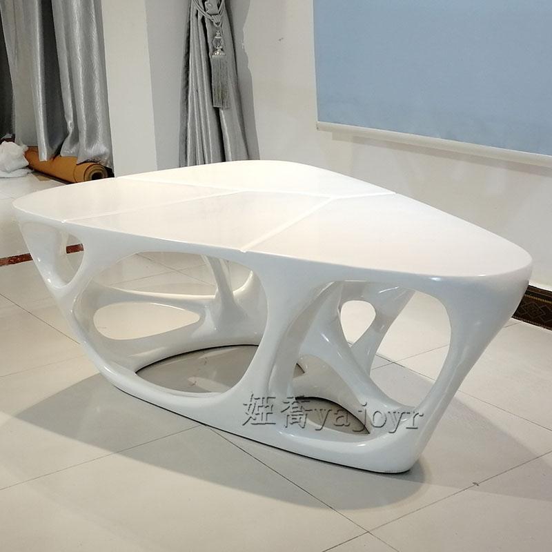 娅乔 高端家具定制 三角形 异形 白色 玻璃钢 镂空茶几  Glass steel coffee table客厅餐厅展厅会客