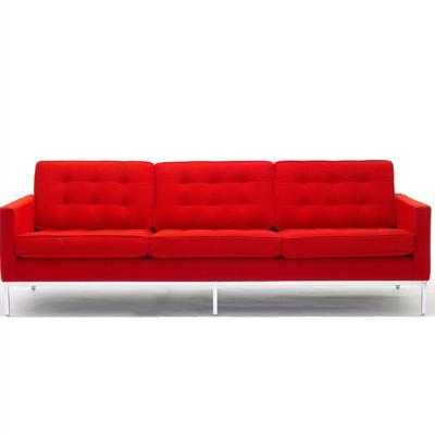 现代简约 个性家具定制 美式布艺沙发 佛罗伦萨·诺尔sofa会客沙发 拉扣双人三人沙发