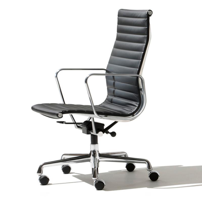 埃姆斯铝组椅铝合金老板椅 设计师转椅高背真皮软包电脑椅 休闲椅行政会议椅