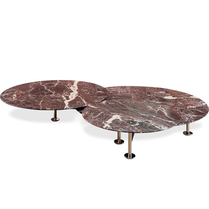 蚱蜢低三重圆桌轻奢北欧天然大理石现代茶几