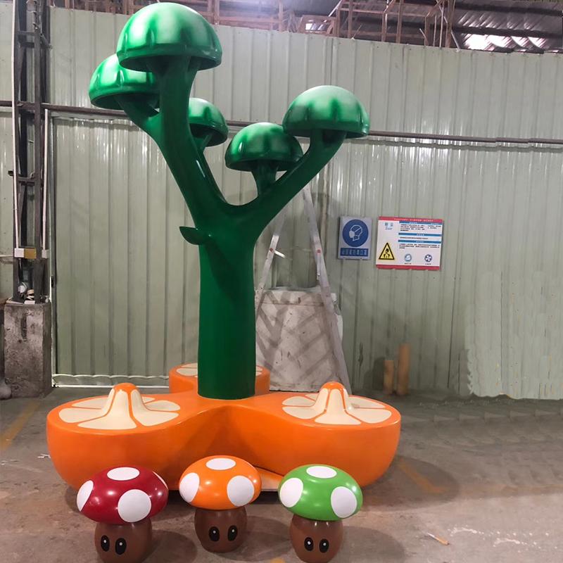 蘑菇树造型创意玻璃钢坐凳蘑菇树卡通雕塑座椅乐园大厅公共场所商场组合型小孩休闲娱乐