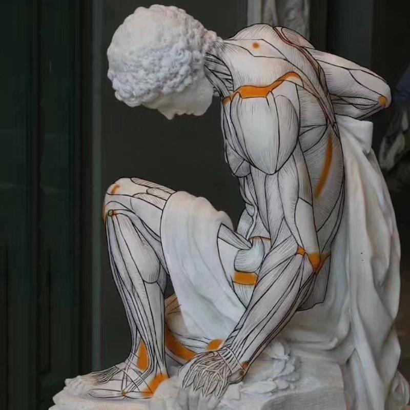 人物雕塑摆件抽象人物样板房客厅创意家具艺术装饰品雕像摆设