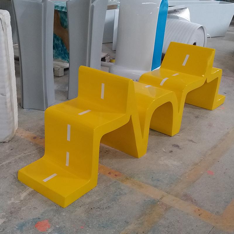 创意心电图几何造型玻璃钢曲线休闲椅商场美陈座椅户外广场景观休息坐凳