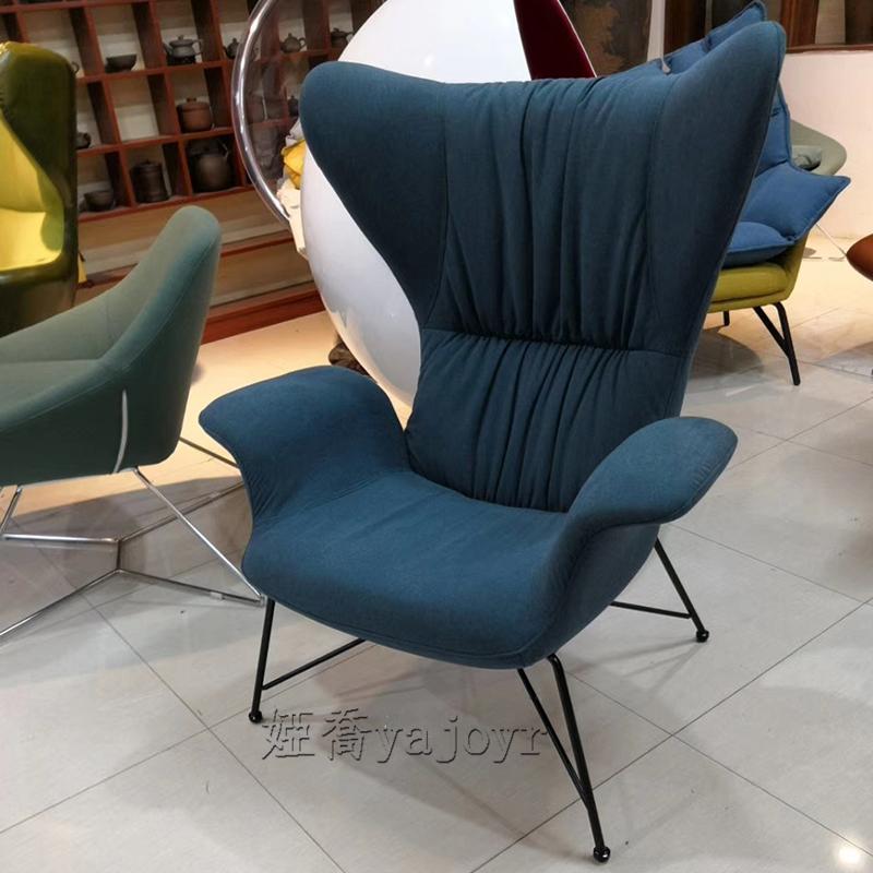 现代简约单人位沙发高背休闲椅设计师创意设计现代客厅酒店别墅阳台卧室洽谈皮艺高背椅子