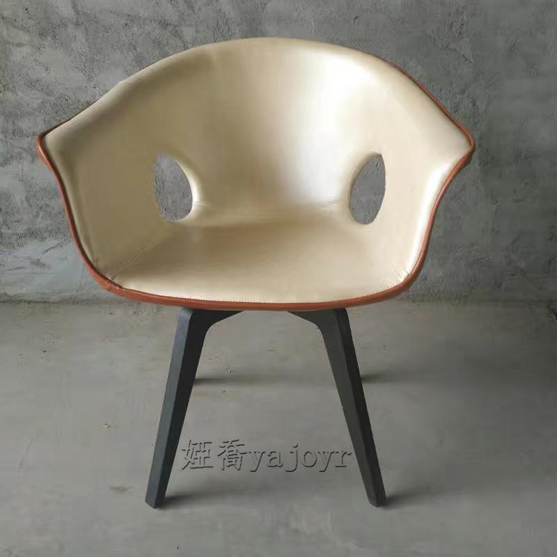 意式轻奢休闲单人椅子简约后现代书房办公电脑桌时尚简约写字桌咖啡餐厅椅极简设计师