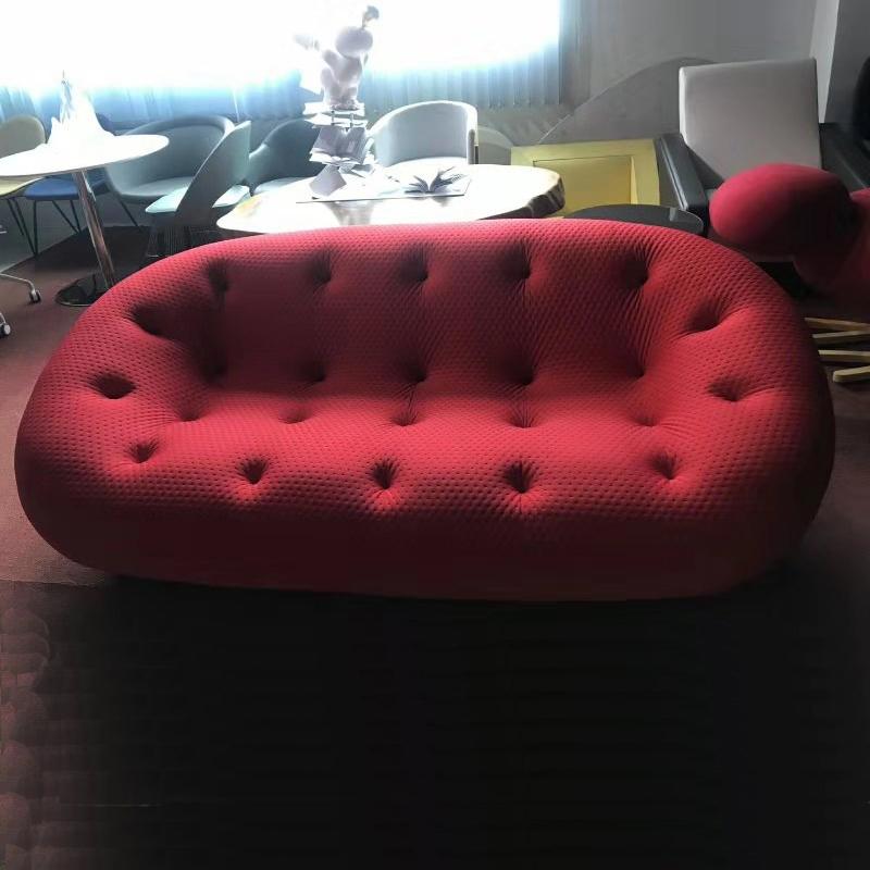 意大利现代简约奢华布艺沙发北欧玻璃钢个性创意休闲沙发椅椭圆形懒人椅客厅创意弧形沙发网红沙发舒适