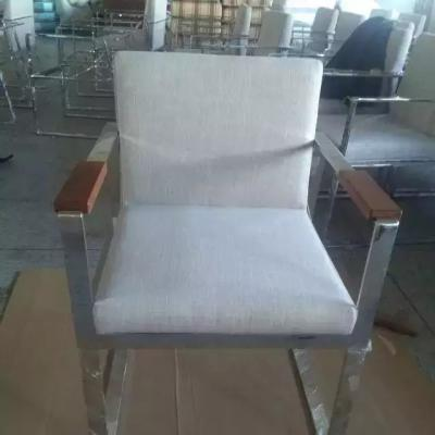 现代简约不锈钢休闲沙发椅 靠背椅 中式椅客厅酒店大厅会议室洽谈别墅