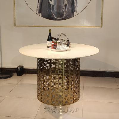 轻奢现代不锈钢圆型餐桌金属脚大理石面圆桌创意个性极简餐桌 客厅餐厅公寓酒店别墅会所均可用
