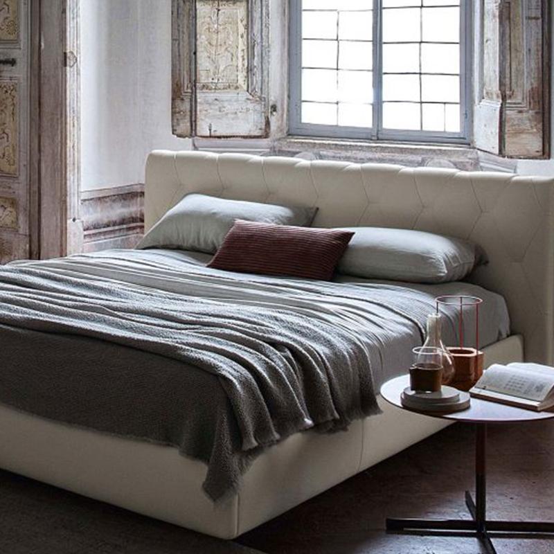 意式轻奢真皮床主卧高档港式后现代样板房北欧简约双人大床