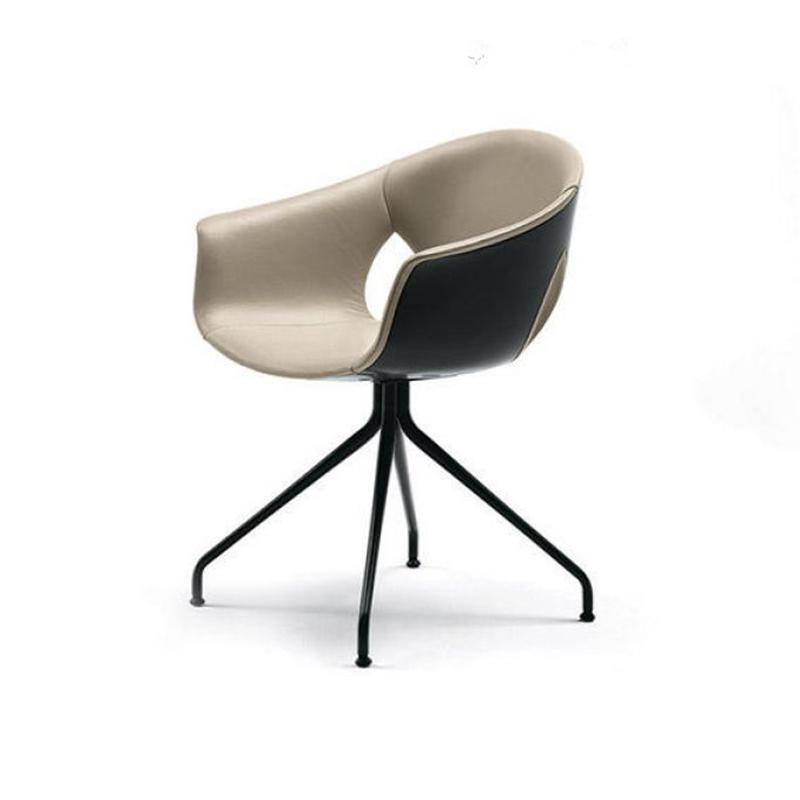 意式极简现代真皮座椅后现代写字台书房椅子酒店公寓客厅