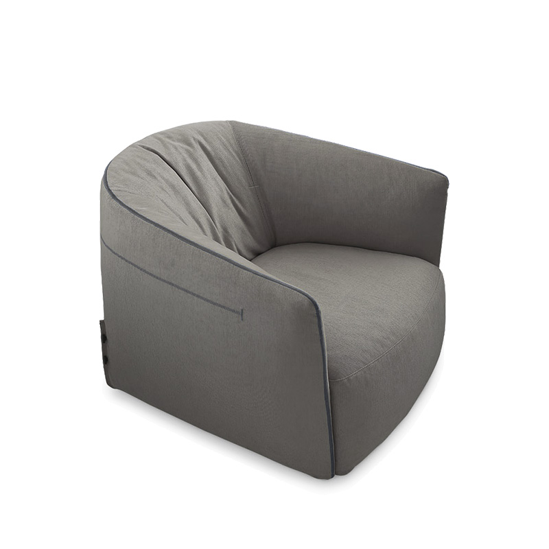 北欧意式极简布艺皮革休闲椅皮质单人沙发椅创意客厅酒店会所样板房