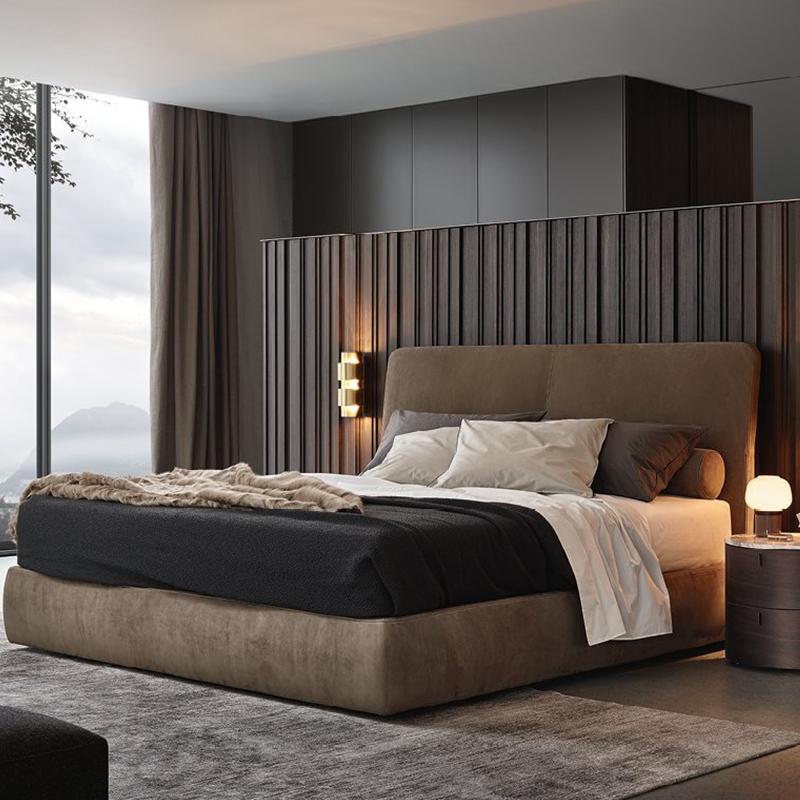轻奢布艺床1.8米主卧双人布床后现代ins网红高靠背北欧简约大房床