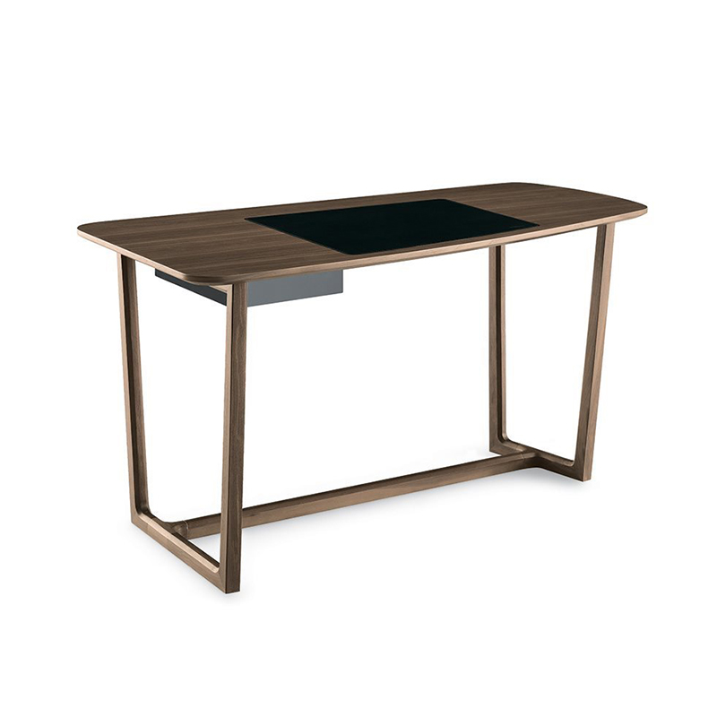 意式书桌现代书房家具抽屉写字台别墅高端会所 酒店定制极简个性实木办公桌