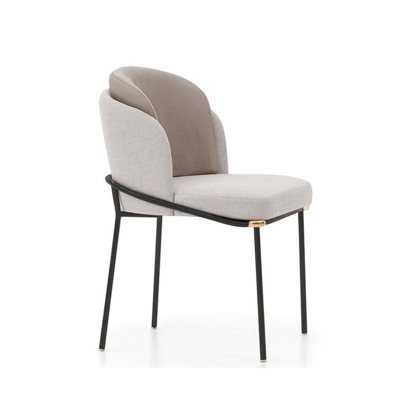 北欧新款Minotti 后现代 简约餐椅 Christophe Delcour 轻奢 布艺皮革休闲椅 酒店洽谈 意式 咖啡椅 书房椅