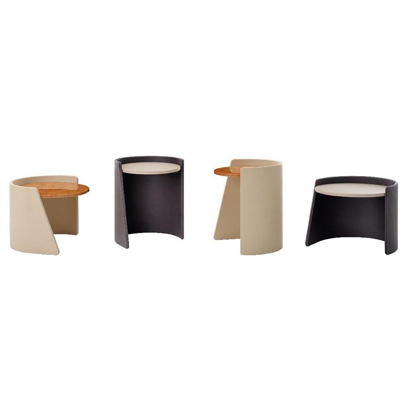 宾利家具凯碧咖啡桌BENTLEY HOME KEPI COFFEE TABLE重叠圆柱茶几边几角几 不锈钢软包实木大理石
