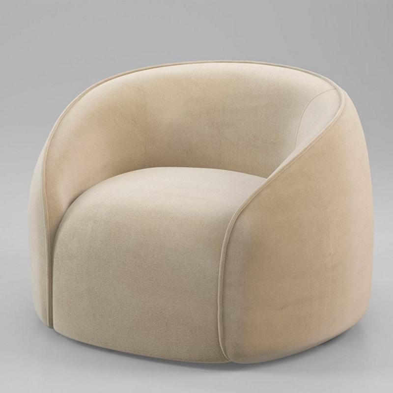 新款设计师创意超柔绒布小居室阳台书房客厅单人圈椅沙发椅小沙发