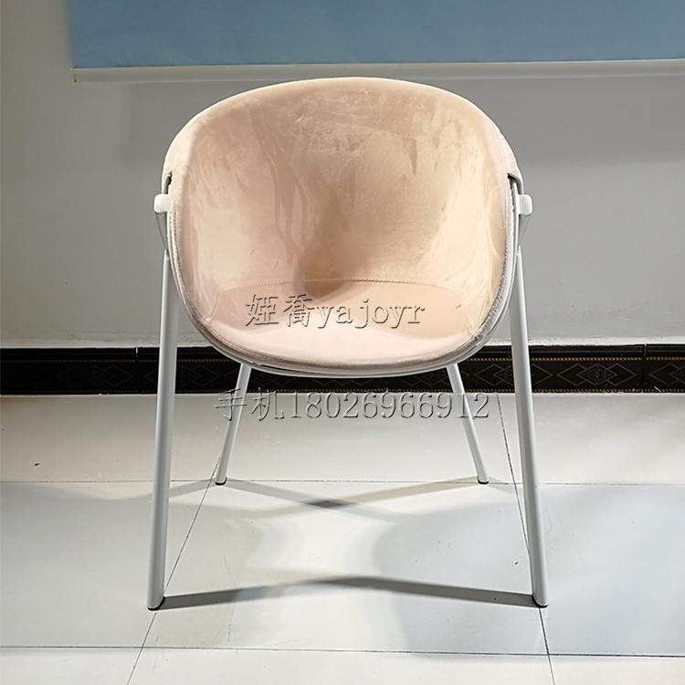 简约创意粉色绒布铁丝网椅 烤漆铁线椅 铁网椅 咖啡店餐厅奶茶店椅子酒店公寓样板房餐椅