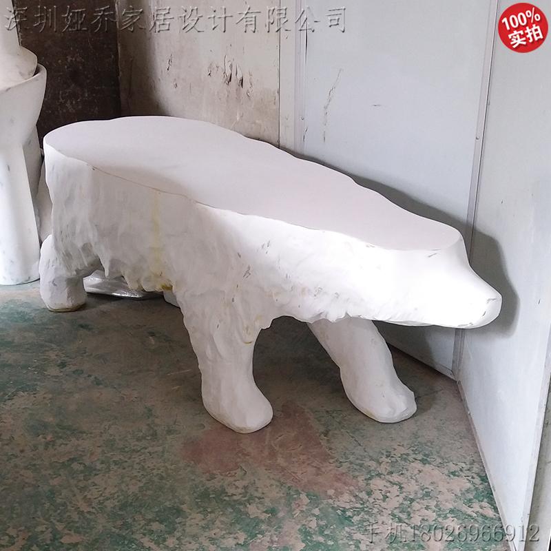 玻璃钢北极熊造型茶几餐桌两用定制 雕塑艺术品动物玻璃钢