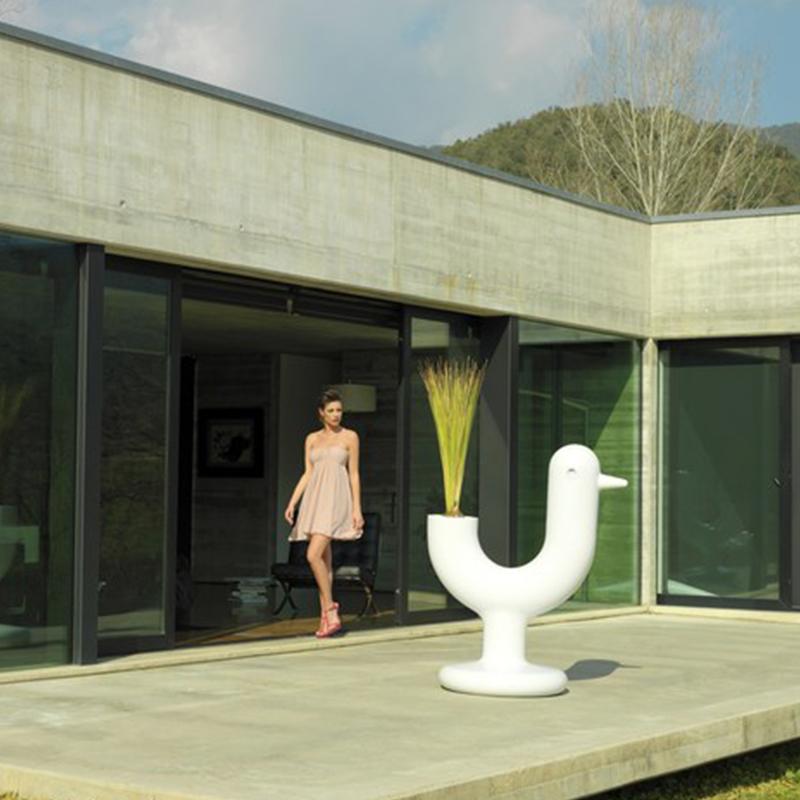 孔雀花园花瓶U形小鸟花器花盆时尚玻璃钢花器户外装饰花瓶