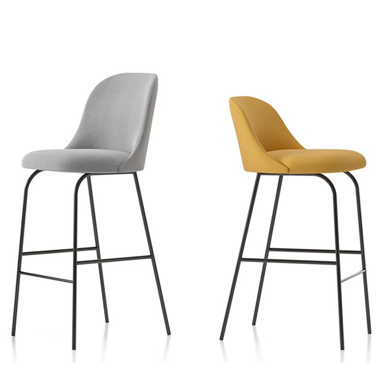 阿莱塔高脚凳金属不锈钢皮艺吧椅轻奢布艺设计师KTV 酒吧 吧台椅