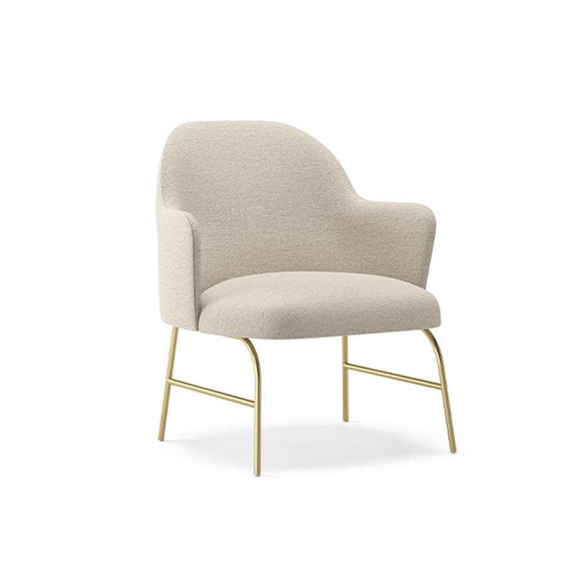 阿莱塔躺椅现代简约金属腿布艺软包客厅酒店公寓会所接待单人沙发休闲椅