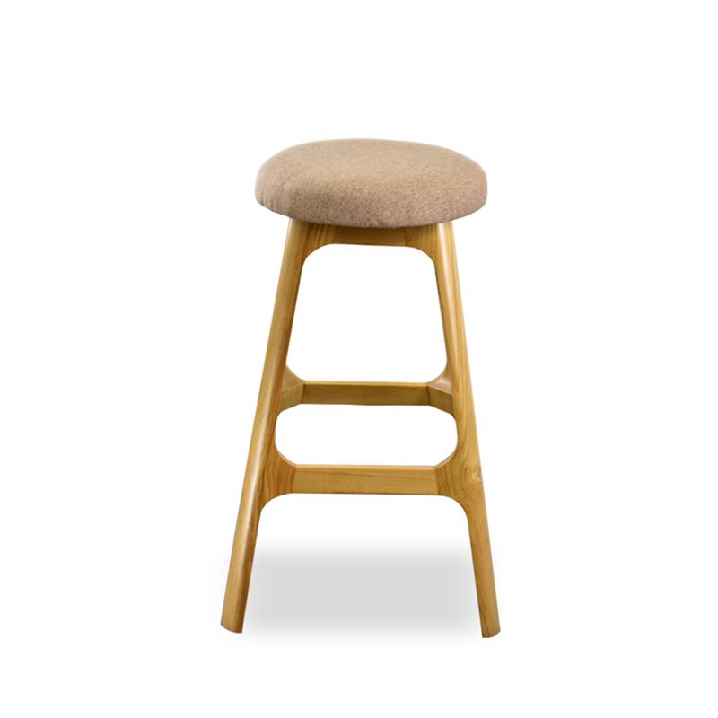 北欧风实木吧椅布艺圆形软包高脚凳现代简约家用前台酒吧餐厅椅子