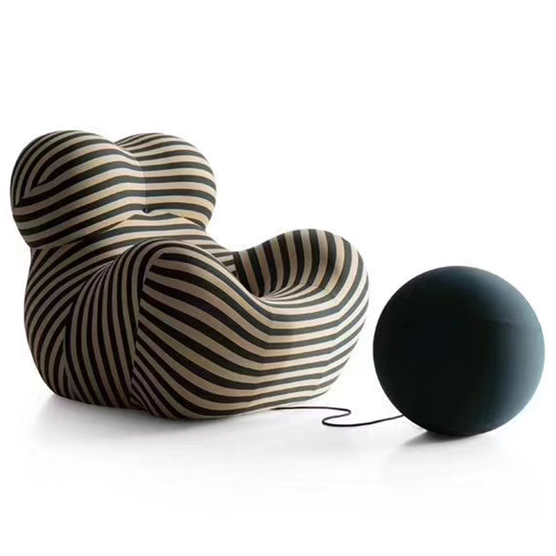 意大利设计师 米兰家具B&B 现代简约 玻璃钢 子母椅 球椅 懒人布艺沙发单人位客厅酒店会所休闲椅