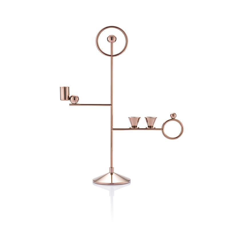 欧式铁艺不锈钢金属烛台奇幻浪漫玫瑰香槟金ins餐厅客厅酒店会所